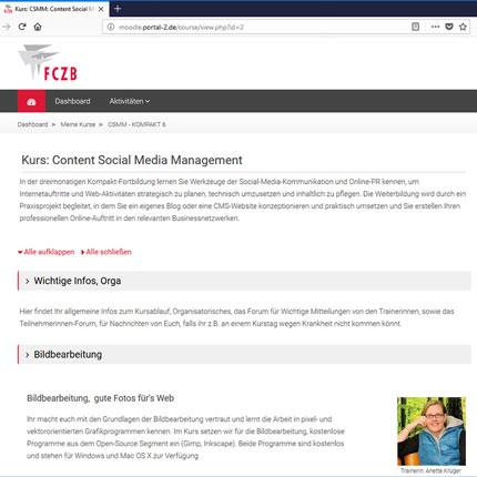 Moodle-Lernplattform für angehende Content- und Social-Media-Managerinnen © FCZB 2018