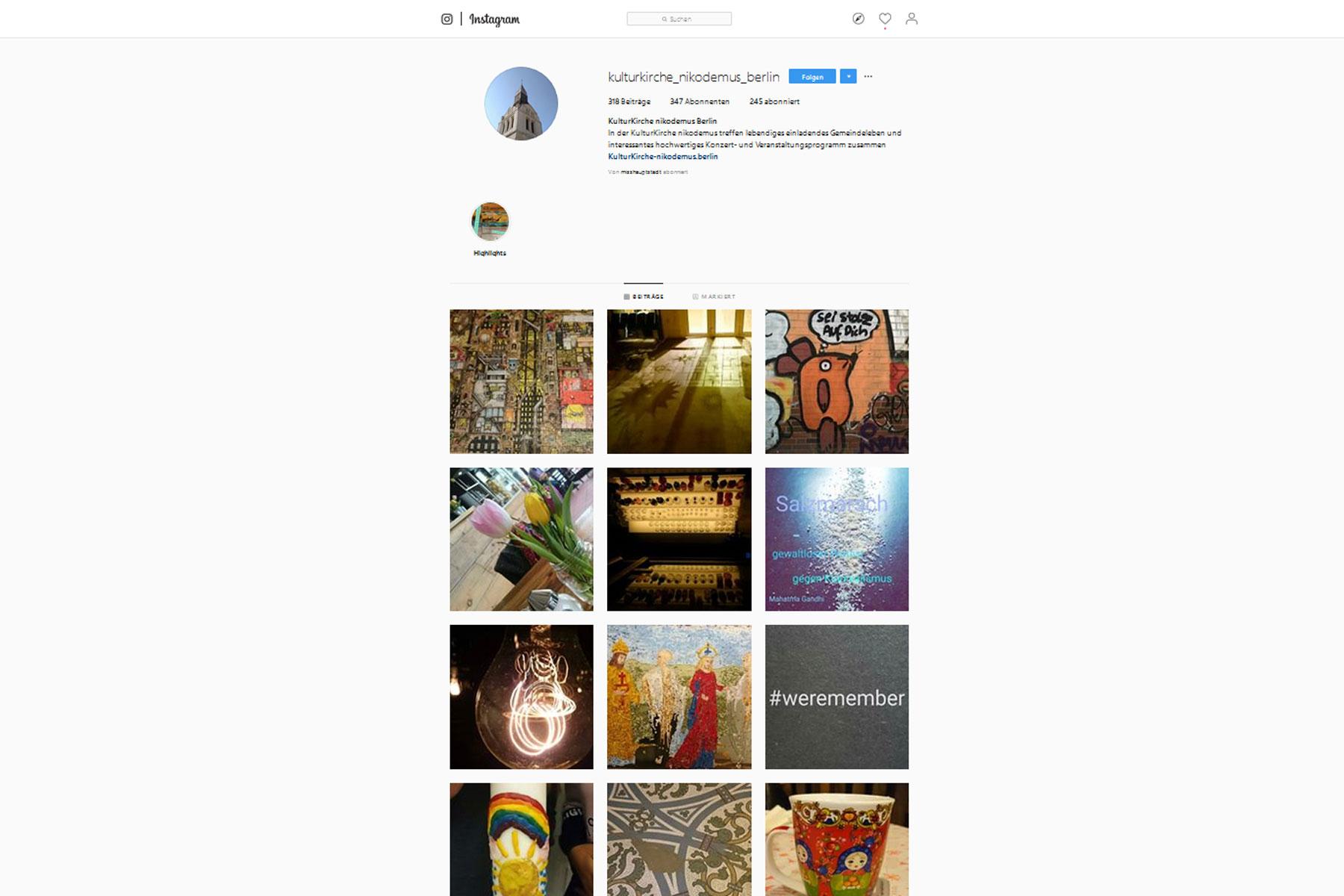 Instagram-Account der Kulturkirche Nikodemus. Praxisprojekt von Melanie Weber in der FCZB-Fortbildung Content- und Social-Media-Management